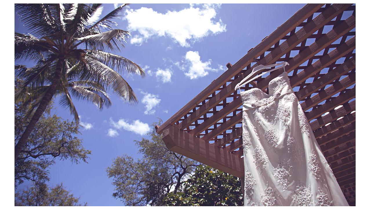 Wedding dress hanging in Maui
