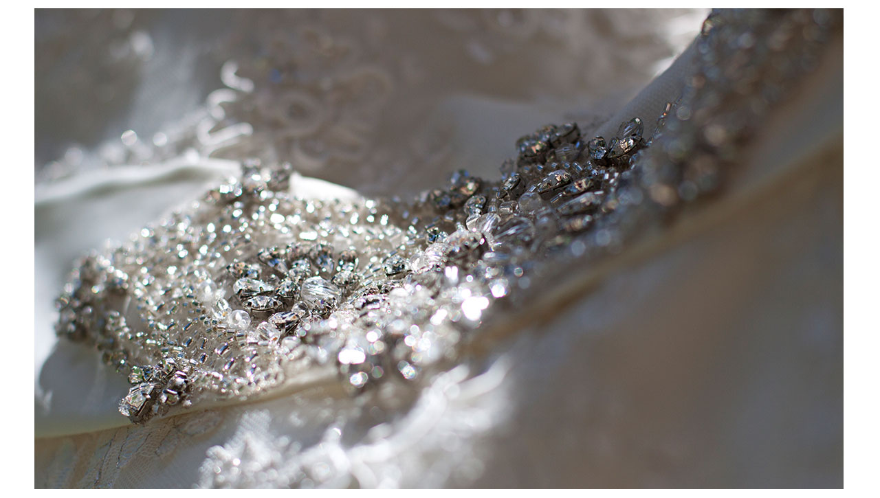 Closeup on wedding dress details
