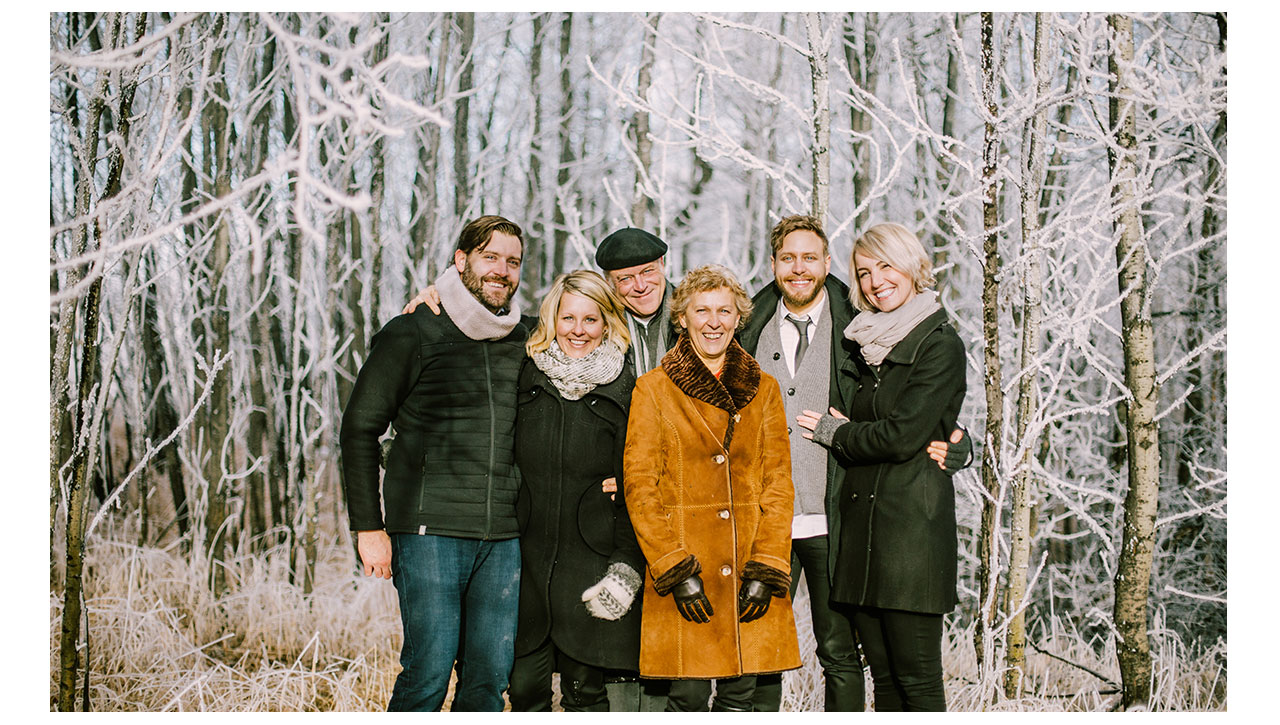 Family Portrait in the forest with hor frost
