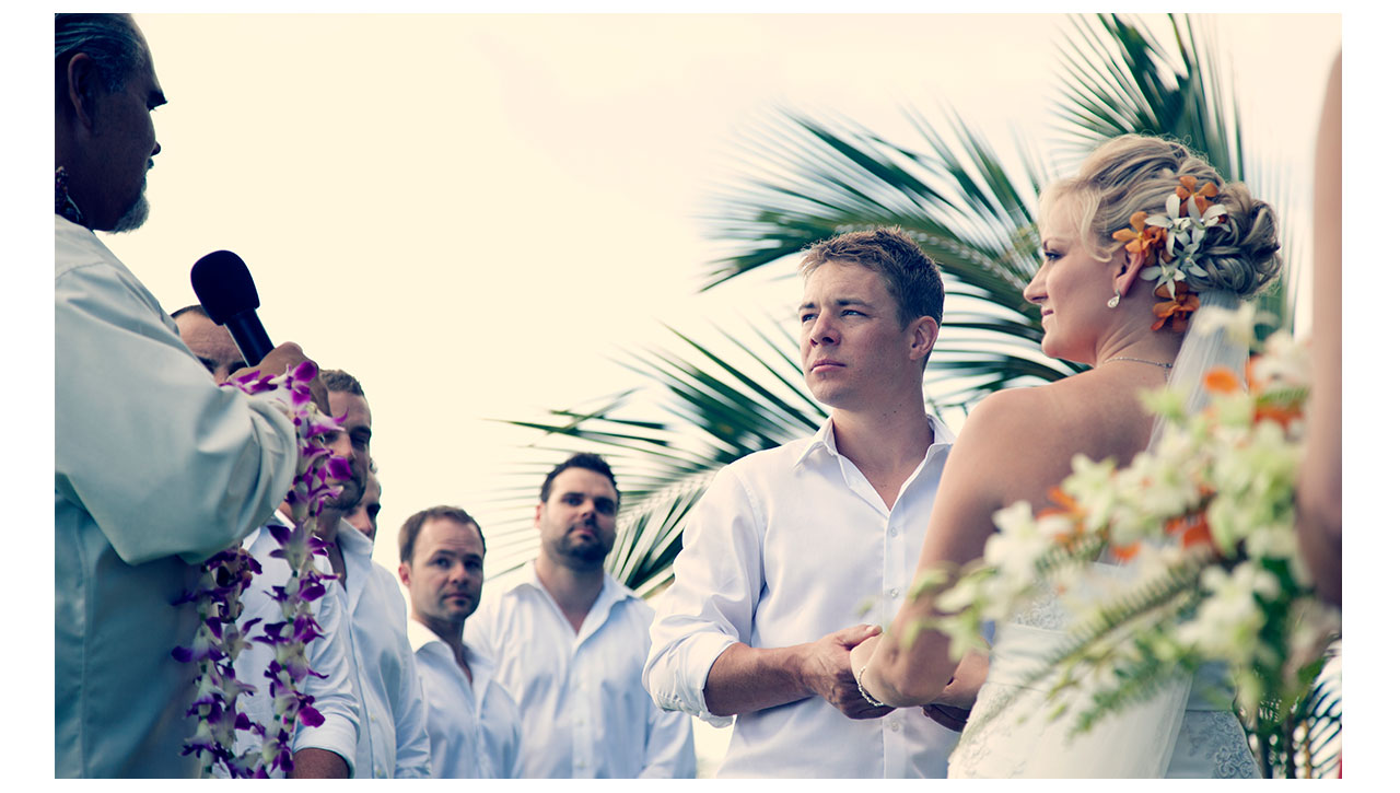 Ceremony on beach in Maui