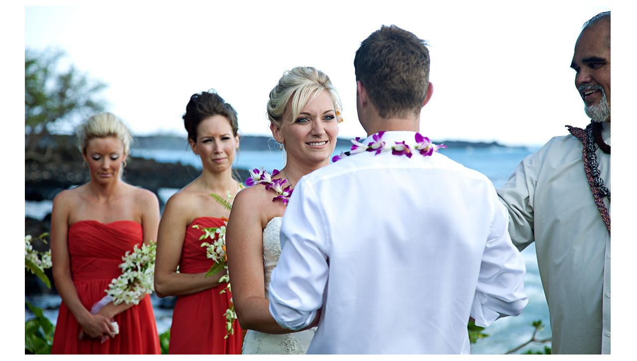Closeup on bride in Maui