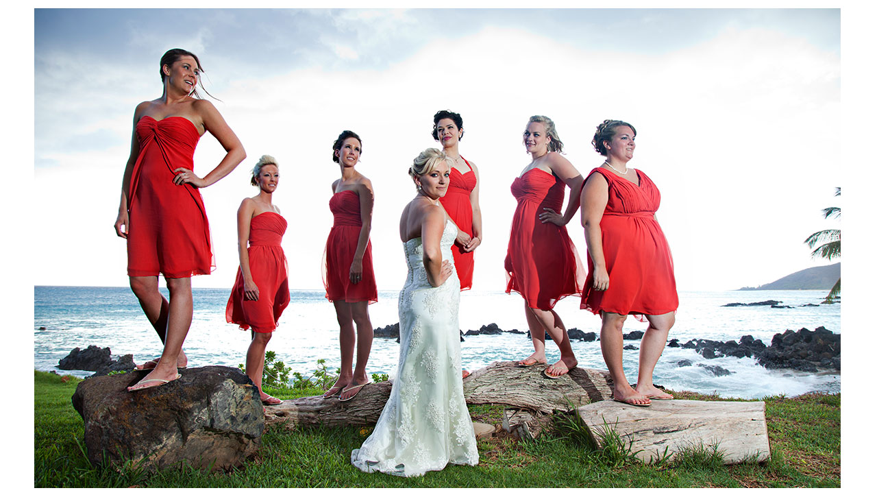 Bridesmaids and bride in Maui