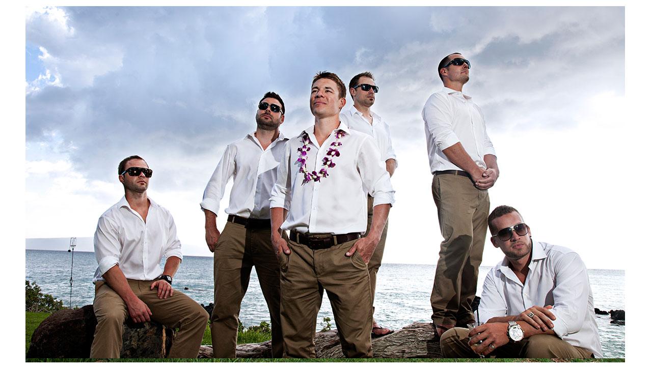 Groomsmen and Groom in Maui