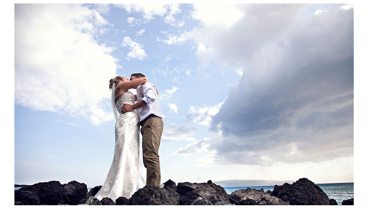 Sharing a kiss in Maui